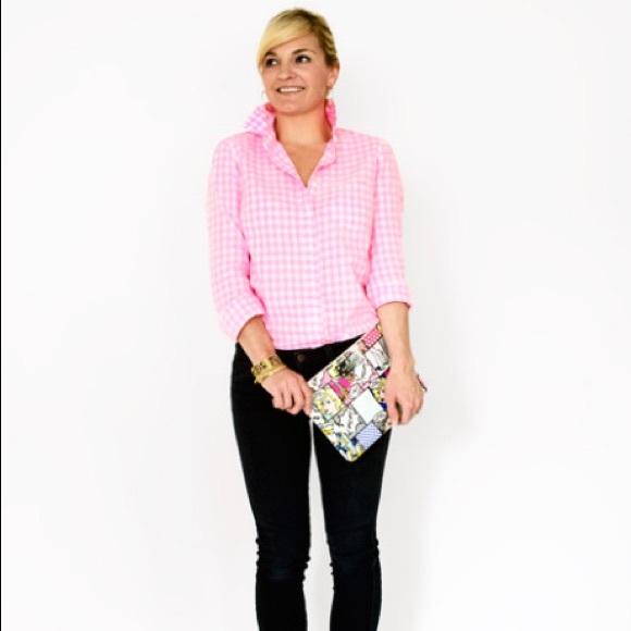 J. Crew Tops - J. Crew Hot pink gingham boy shirt be1550d315